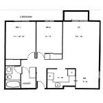 Floorplan for 2 Bedroom Apartment in Centretown Ottawa