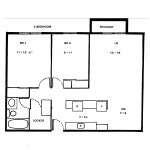 Floorplan for 2 Bedroom Apartment in Downtown Ottawa