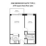 Floorplan for 1 Bedroom Apartment in Centretown Ottawa